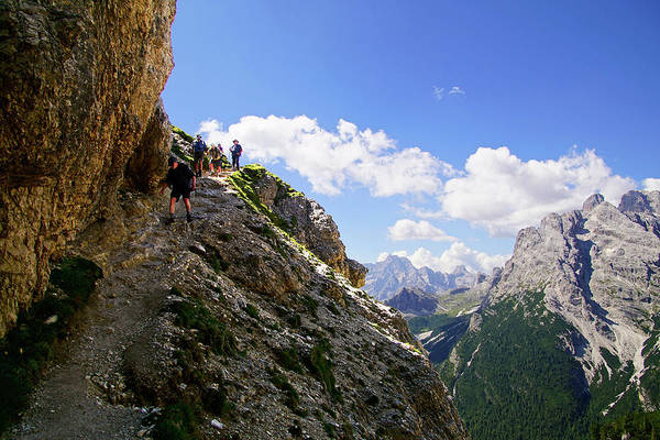 Hikers On Steep Trail Up Monte Piana Poster