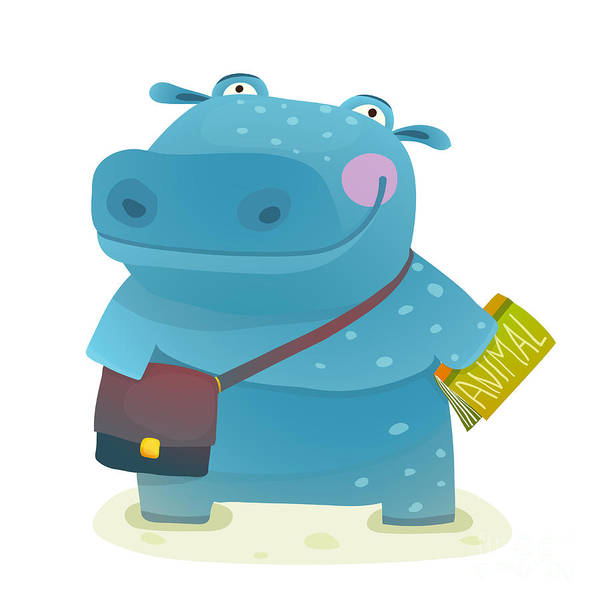 Hippopotamus Kid Student With Book And Poster