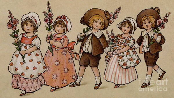 Hollyhocks, Victorian Card Poster