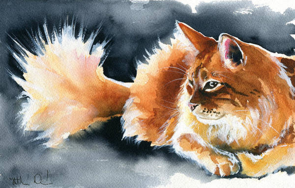 Holy Ginger Fluff - Cat Painting Poster