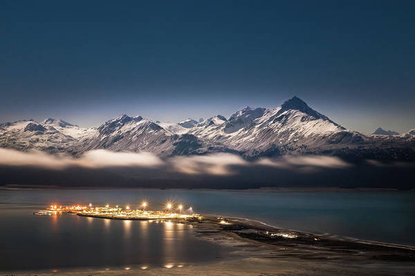 Homer Spit With Moonlit Mountains Poster