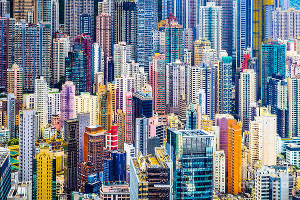 Hong Kong, China Dense Cityscape Of Poster