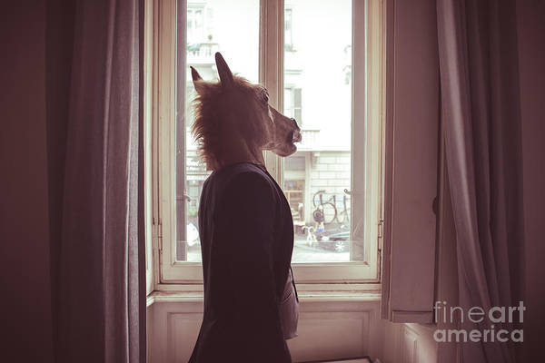 Horse Mask Man In Front Of Window At Poster