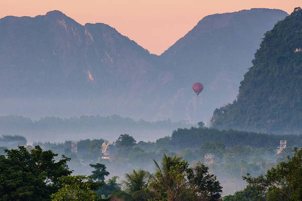 Poster featuring the photograph Hot Air Ballon In Laos by Nicole Young