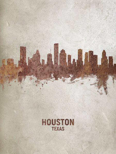 Houston Texas Rust Skyline Poster