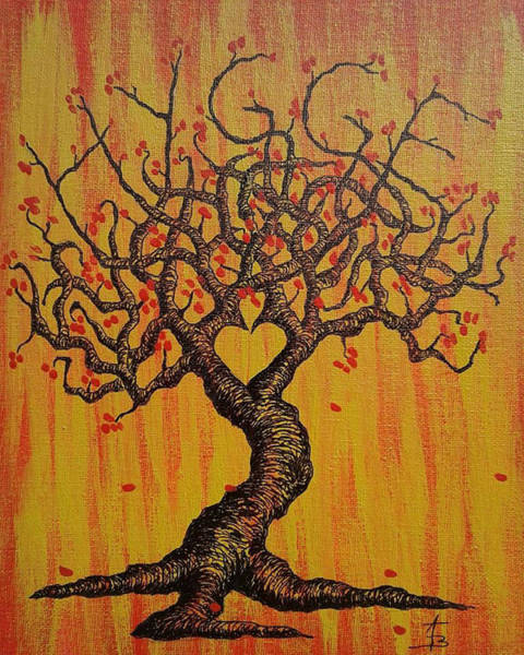 Poster featuring the drawing Hygge Love Tree by Aaron Bombalicki