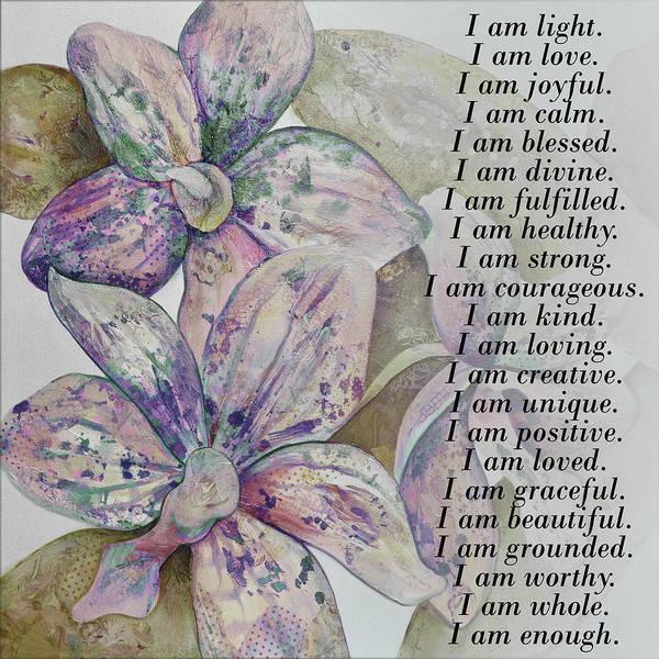 I Am...positive Affirmation Art In Lavendar And Rose Poster