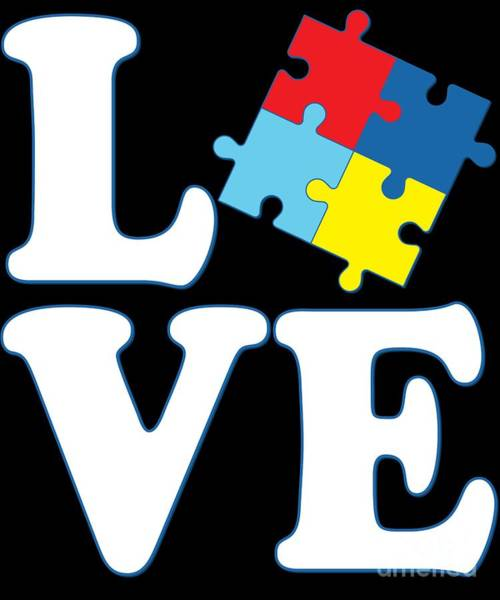 Poster featuring the digital art I Love Autism by Flippin Sweet Gear