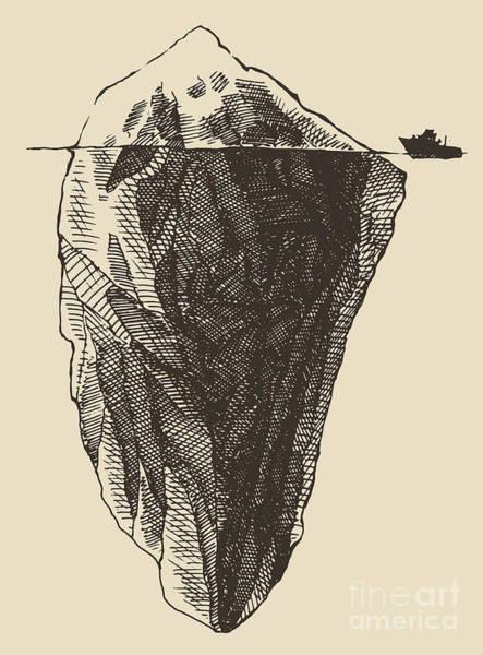 Iceberg With Icebreaker Vintage Poster