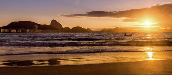 Idyllic Sunrise In Copacabana Beach In Rio De Janeiro, Brazil Poster