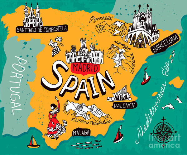 Illustrated Map Of Spain Poster