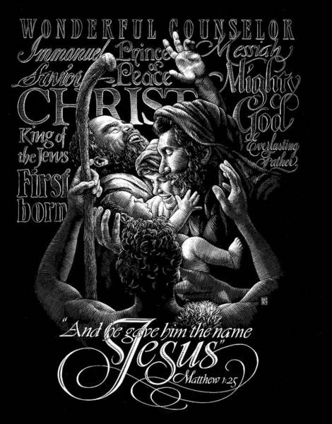 Poster featuring the drawing Immanuel by Clint Hansen