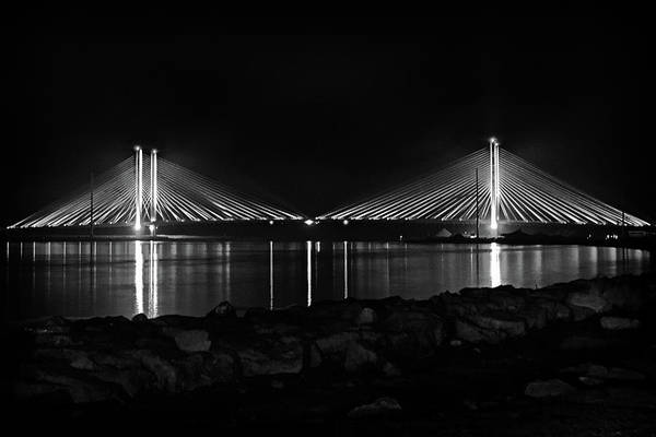 Indian River Bridge After Dark In Black And White Poster