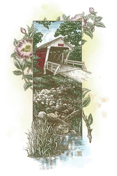 Poster featuring the drawing Iowa Covered Bridge by Clint Hansen