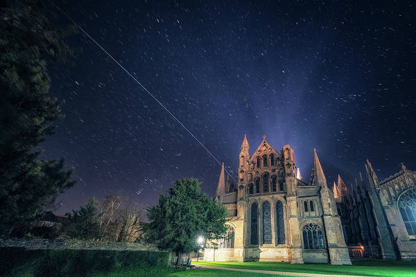 Iss Over Ely Cathedral Poster