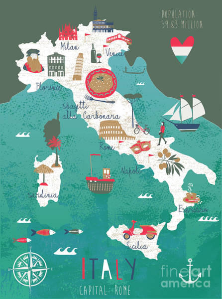 Italy Map Print Design Poster