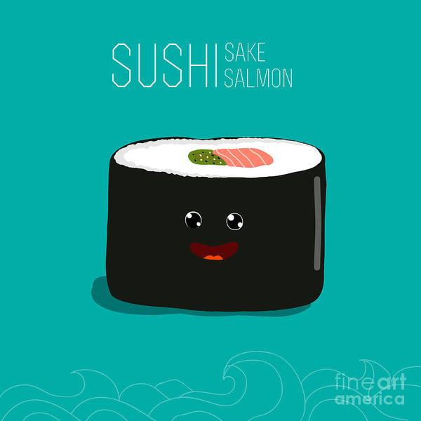 Japanese Food - Sushi. Vector Cartoon Poster