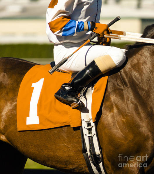 Jockey Rides Horse Along Track Poster