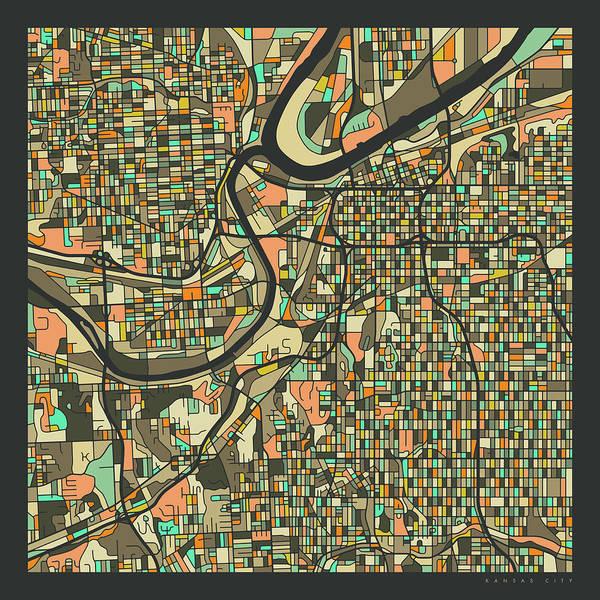Kansas City Map 2 Poster