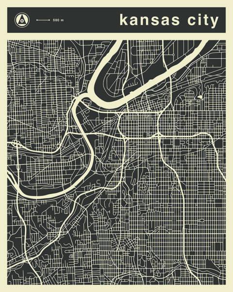 Kansas City Map 3 Poster