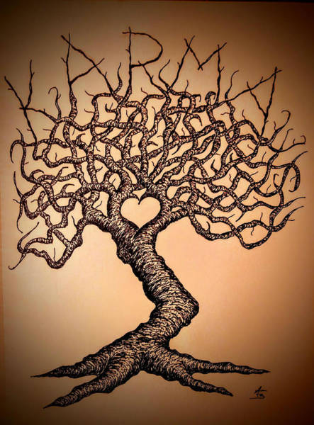 Poster featuring the drawing Karma Love Tree by Aaron Bombalicki