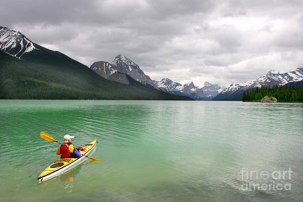 Kayaking In Banff National Park, Canada Poster