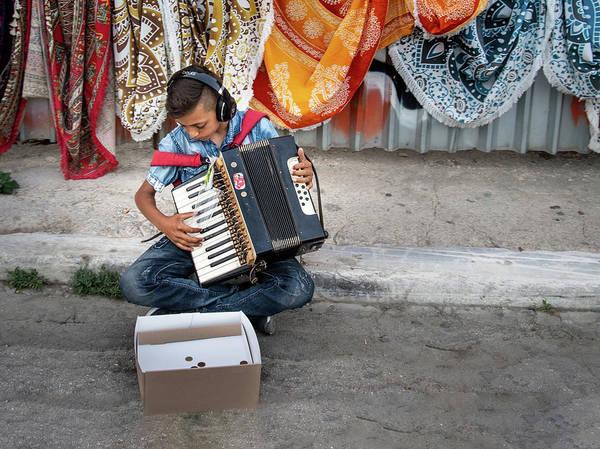 Kid Playing Accordeon Poster