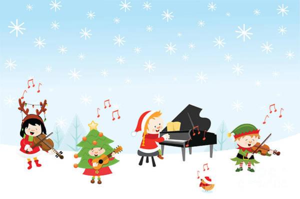 Kids Playing Christmas Songs Poster