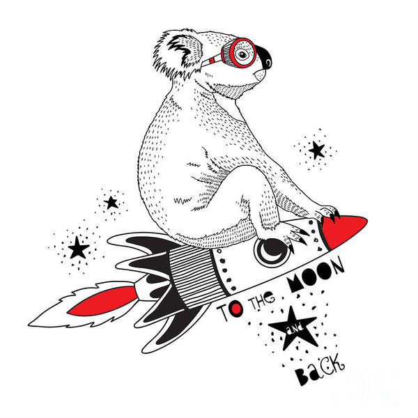 Koala Flying On The Rocket To The Moon Poster