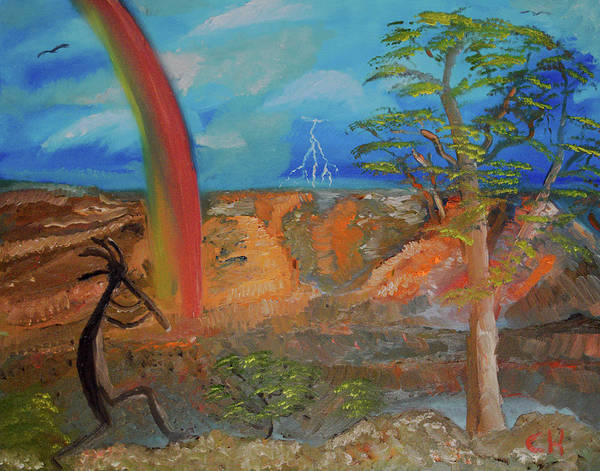 Poster featuring the painting Kokopelli Calls The Storm by Chance Kafka
