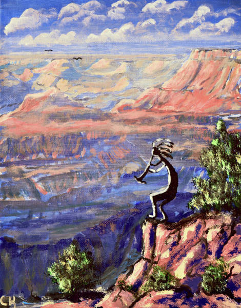 Kokopelli At The Grand Canyon  Poster