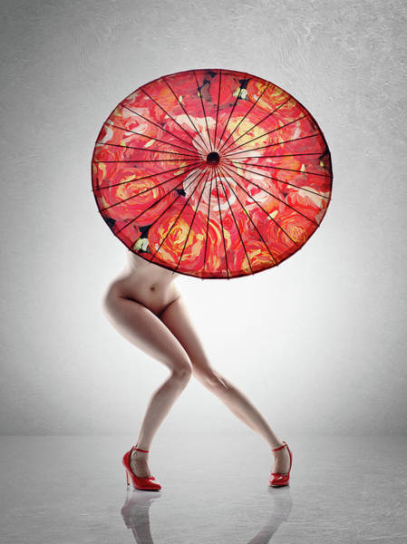 Lady With Red Shoes And Parasol Poster