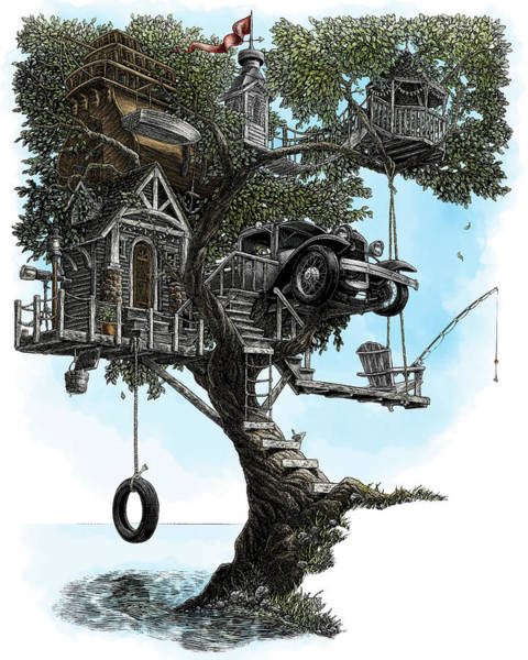 Poster featuring the drawing Lake Front Dream House by Clint Hansen