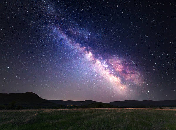 Landscape With Milky Way. Night Sky Poster
