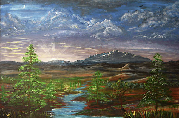 Poster featuring the painting Laramie Peak Evening by Chance Kafka