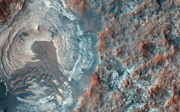 Layers And Dark Dunes On The Surface Of Mars Poster