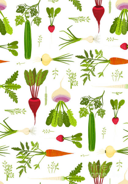 Leafy Vegetables And Greens Seamless Poster