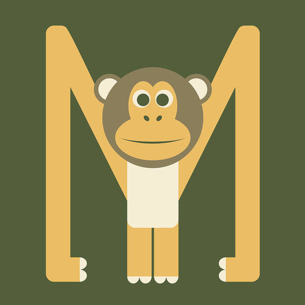Letter M - Animal Alphabet - Monkey Monogram Poster