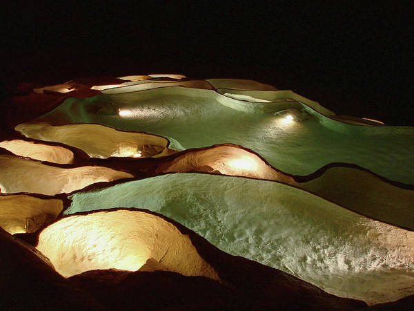 Light Up The Dark - Lit Natural Rock Water Basins In Underground Cave Poster