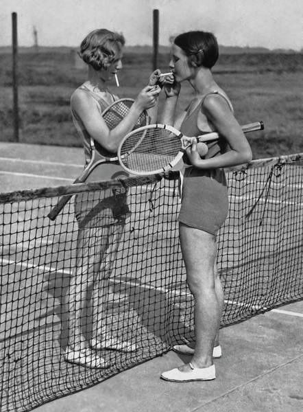 Lighting Up After A Tennis Match Poster