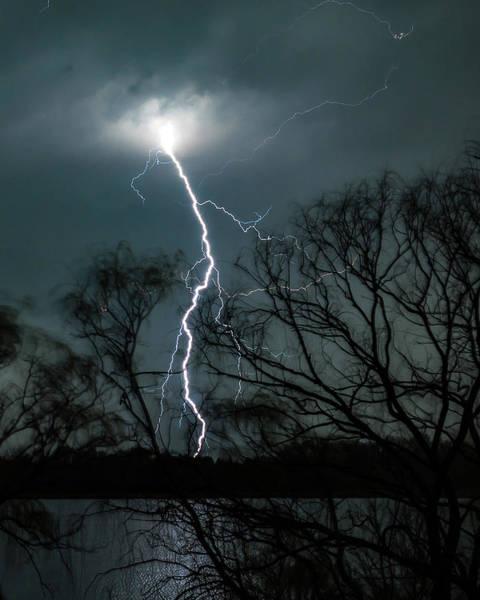 Lightning Bolt Over Little Sugarloaf Poster