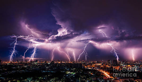 Lightning Storm Over City In Purple Poster