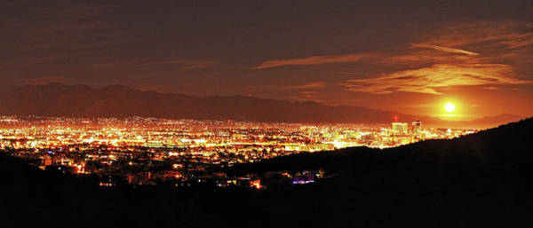 Poster featuring the photograph Lights Of Tucson And Moonrise by Chance Kafka