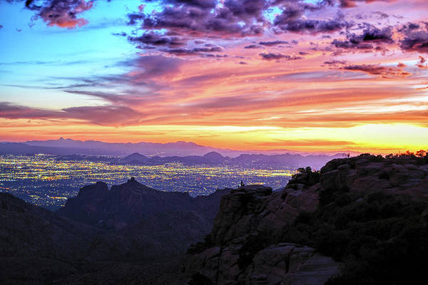 Lights Of Tucson At Sunset Poster