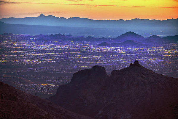 Lights Of Tucson At Twilight  Poster
