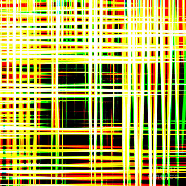 Lines And Squares In Color Waves - Plb418 Poster