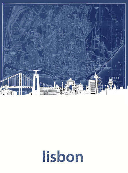 Lisbon Skyline Map Blue Poster