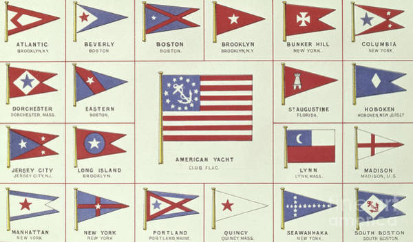 List Of American Yacht Club Flags, From Lloyds Register Of Shipping, 1881 Poster