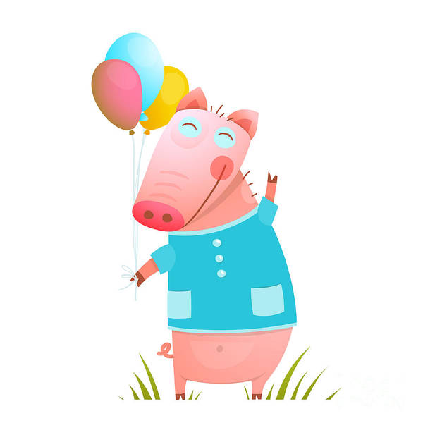 Little Adorable Baby Pig With Balloons Poster
