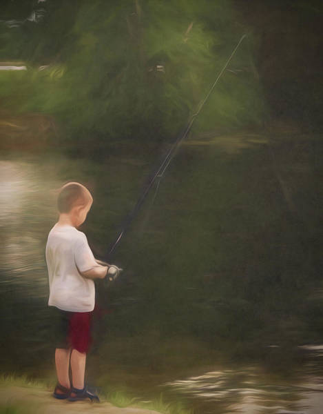 Little Boy Fishing Poster